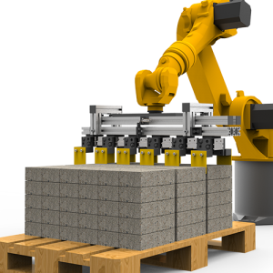 Robotic stacker for brick machine